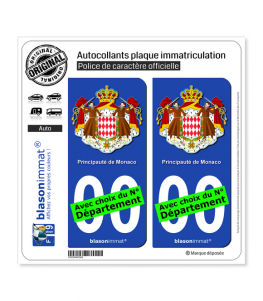 Monaco - Armoiries | Autocollant plaque immatriculation