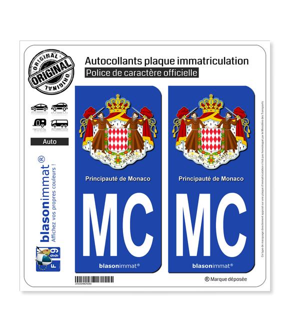 MC Monaco - Armoiries   Autocollant plaque immatriculation