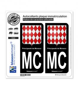 MC Monaco - Blason   Autocollant plaque immatriculation