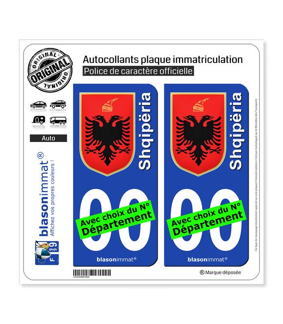 Albanie - Armoiries   Autocollant plaque immatriculation