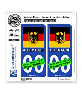 Allemagne - Armoiries Drapées | Autocollant plaque immatriculation