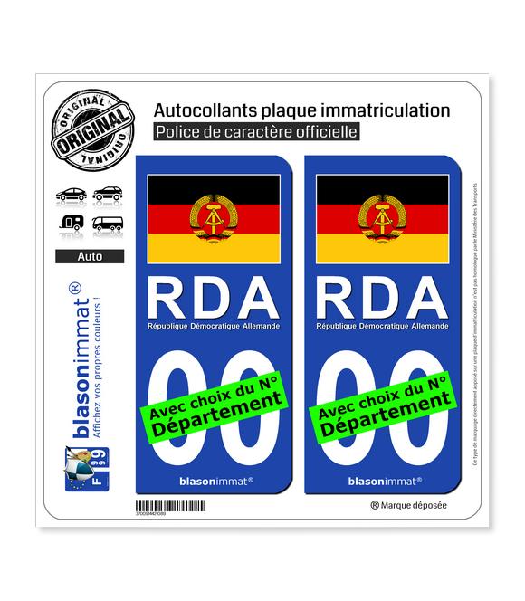 Allemagne - Drapeau RDA   Autocollant plaque immatriculation