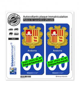 Andorre - Armoiries | Autocollant plaque immatriculation