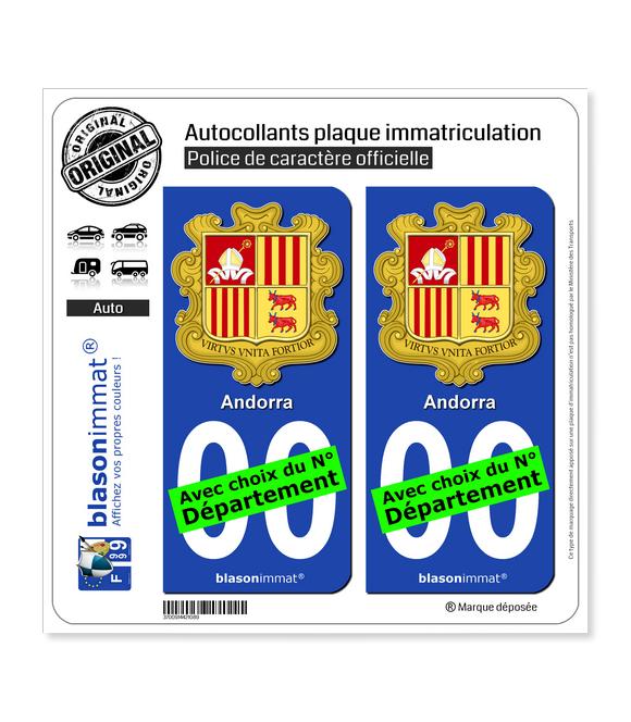 Andorre - Armoiries   Autocollant plaque immatriculation