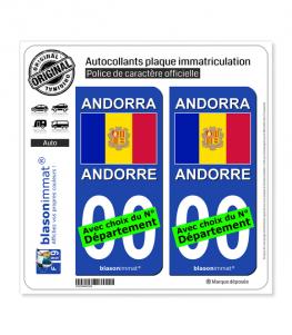 Andorre - Drapeau | Autocollant plaque immatriculation