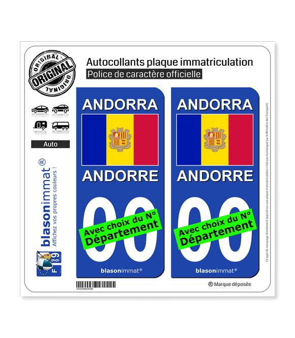 Andorre - Drapeau   Autocollant plaque immatriculation