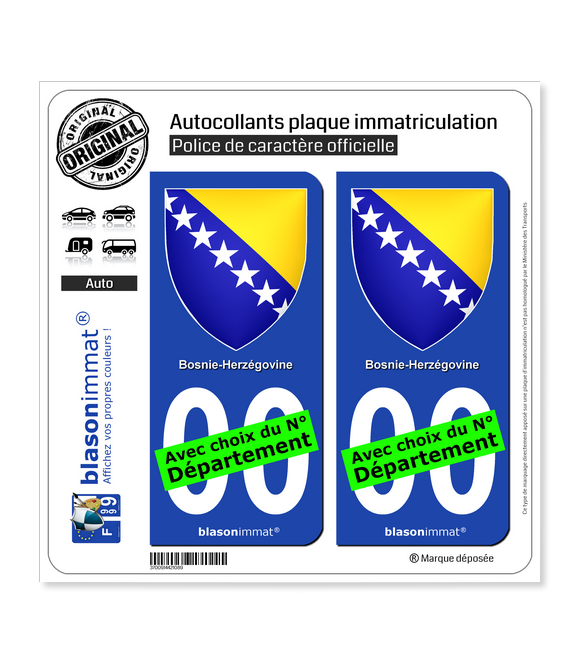 Bosnie-Herzégovine - Armoiries   Autocollant plaque immatriculation