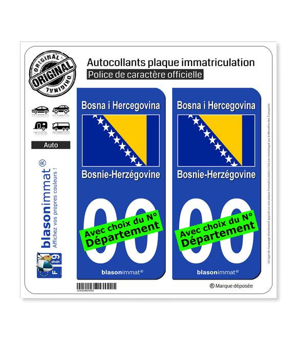 Bosnie-Herzégovine - Drapeau | Autocollant plaque immatriculation