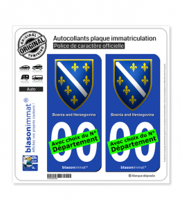 Bosnie-Herzégovine - Armoiries 1992-98 | Autocollant plaque immatriculation