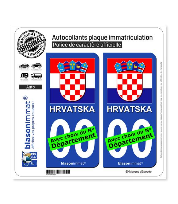 Croatie - Armoiries Drapées   Autocollant plaque immatriculation