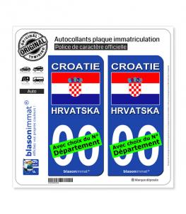 Croatie - Drapeau | Autocollant plaque immatriculation