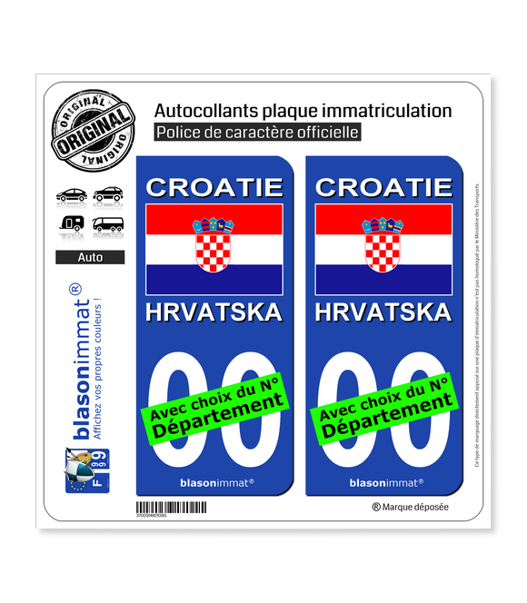Croatie - Drapeau   Autocollant plaque immatriculation