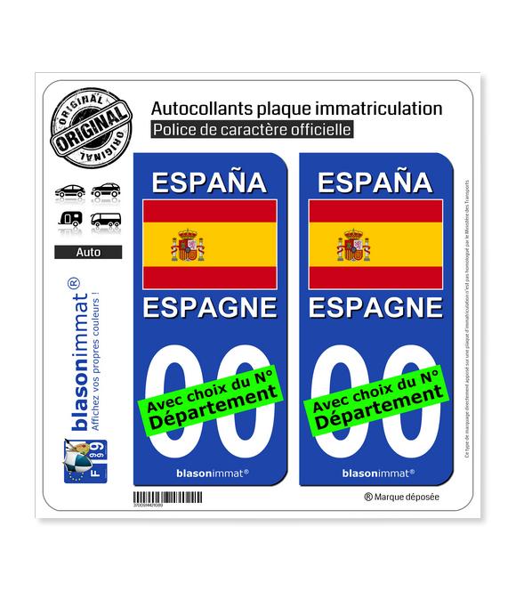 Espagne - Drapeau | Autocollant plaque immatriculation
