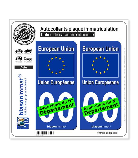 Europe - Drapeau   Autocollant plaque immatriculation
