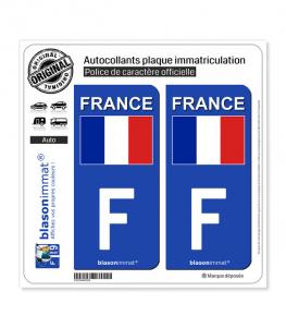 F France - Drapeau (Côté droit) | Autocollant plaque immatriculation