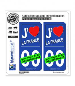 France - J'aime | Autocollant plaque immatriculation
