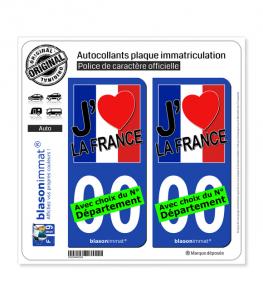 France - J'aime Drapé | Autocollant plaque immatriculation