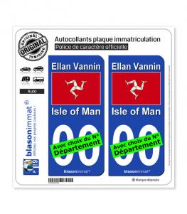 Ile de Man - Drapeau | Autocollant plaque immatriculation