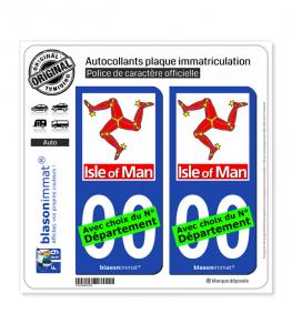 Ile de Man - Trépied | Autocollant plaque immatriculation