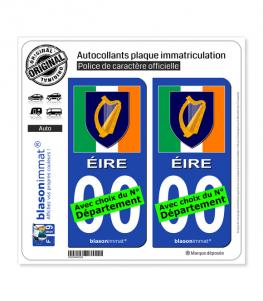 Irlande - Armoiries Drapées | Autocollant plaque immatriculation