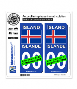 Islande - Drapeau | Autocollant plaque immatriculation
