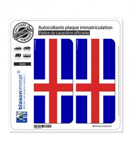 Islande - Drapeau Plein | Autocollant plaque immatriculation
