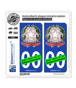 Italie - Armoiries   Autocollant plaque immatriculation