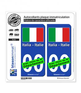 Italie - Drapeau   Autocollant plaque immatriculation