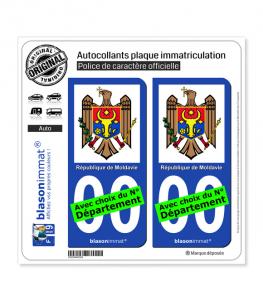 Moldavie - Armoiries   Autocollant plaque immatriculation