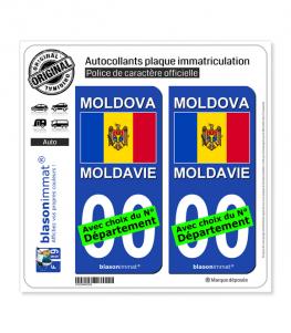 Moldavie - Drapeau   Autocollant plaque immatriculation