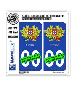 Portugal - Armoiries   Autocollant plaque immatriculation