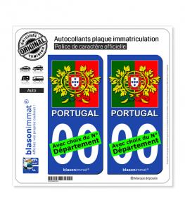 Portugal - Armoiries Drapées   Autocollant plaque immatriculation