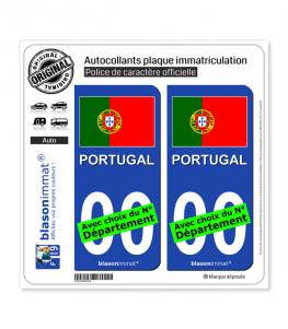 Portugal - Drapeau   Autocollant plaque immatriculation