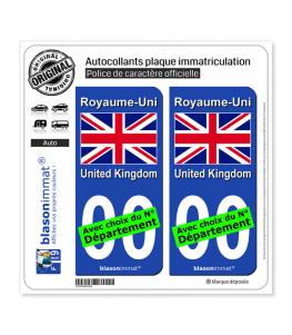 Royaume-Uni - Drapeau   Autocollant plaque immatriculation