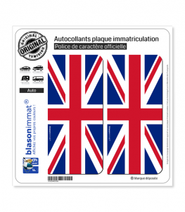 Royaume-Uni - Drapeau Vertical   Autocollant plaque immatriculation