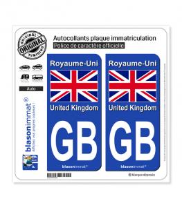 GB Royaume-Uni - Drapeau   Autocollant plaque immatriculation