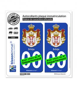 Serbie - Armoiries   Autocollant plaque immatriculation