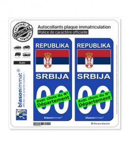 Serbie - Drapeau   Autocollant plaque immatriculation
