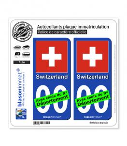 Suisse - Drapeau   Autocollant plaque immatriculation
