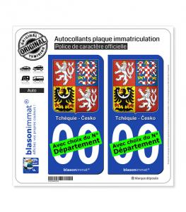 Tchéquie - Armoiries   Autocollant plaque immatriculation