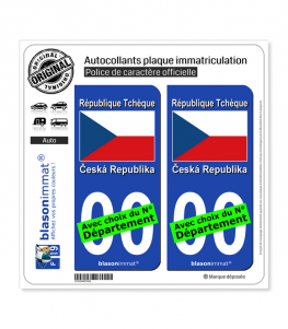 Tchéquie - Drapeau   Autocollant plaque immatriculation