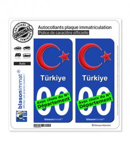 Turquie - Armoiries   Autocollant plaque immatriculation