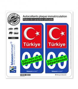 Turquie - Armoiries Drapées   Autocollant plaque immatriculation