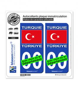 Turquie - Drapeau   Autocollant plaque immatriculation