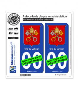 Vatican - Armoiries   Autocollant plaque immatriculation