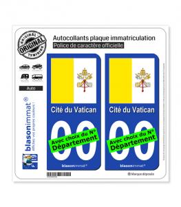 Vatican - Drapeau   Autocollant plaque immatriculation