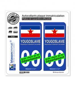 Yougoslavie - Drapeau RFS   Autocollant plaque immatriculation