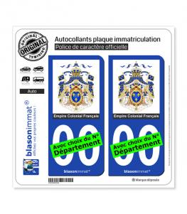 Ancienne Colonie Française - Armoiries | Autocollant plaque immatriculation