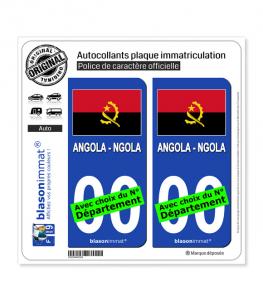 Angola - Drapeau | Autocollant plaque immatriculation