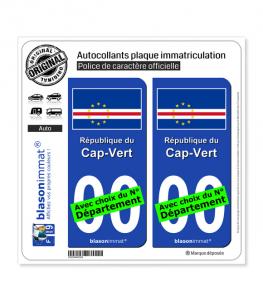 Cap-Vert - Drapeau | Autocollant plaque immatriculation